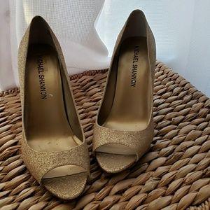 Gold glitter Michael shannon peep toe heels